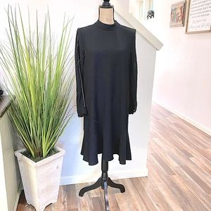 nwt timo weiland dress in black, long sleeve, white arm pinstripe
